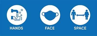 This image shows Hands, Face Space logo - Covid arrangements