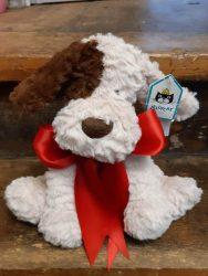 dog-brown-white-red-ribbon